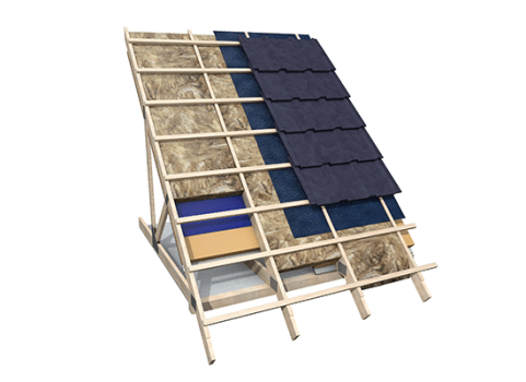 Rock Mineral Wool - Pitched Roofs at Rafter Level - Building Slab